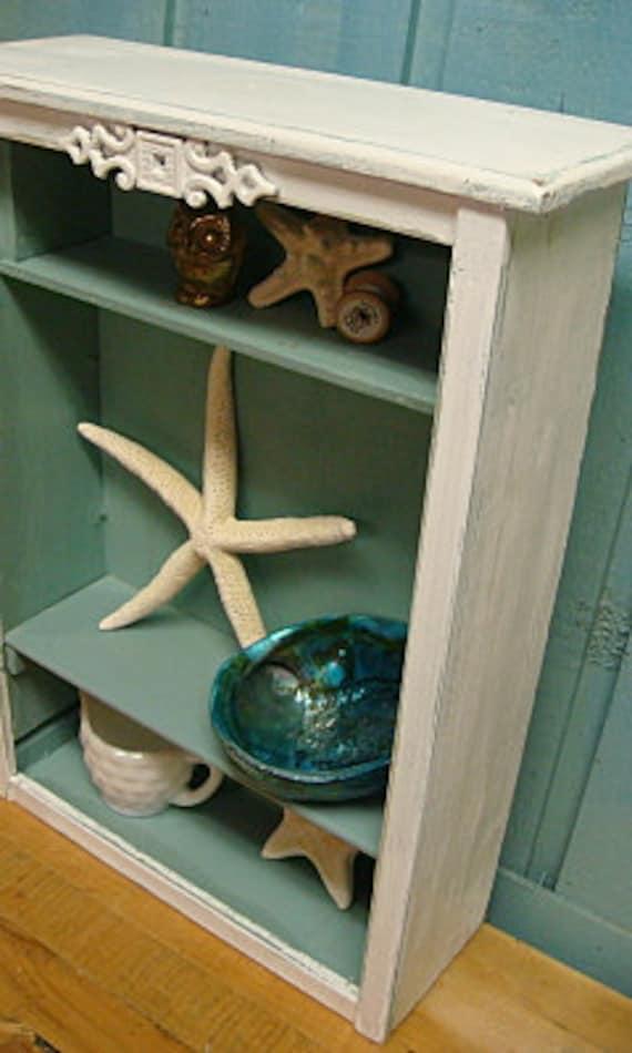 Shelf Bookcase Turquoise White Shabby Chic Curio Shelf