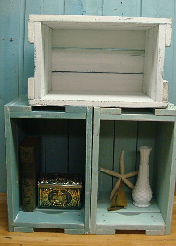 White Turquoise Weathered Stacking Crate, Storage, Bookcase, Side Table
