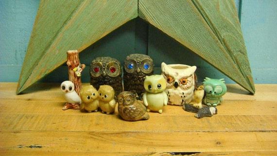 Flock of Vintage Owl Ornaments