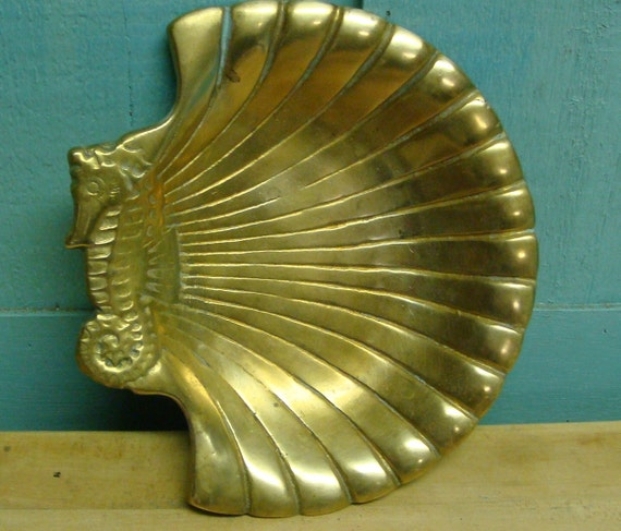 Vintage Brass Clam Seashell and Seahorse Small Bowl Platter