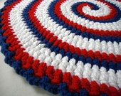 Crochet Cat Blanket or Bed 4th of July Special Swirling Blanket Acrylic