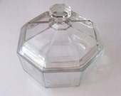 Crystal Arcoroc Octime France Lidded Sugar Candy Dish