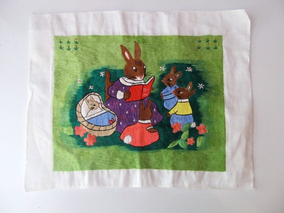 Hand Embroidered Stitched Mother Rabbit Nursery Scene on Linen