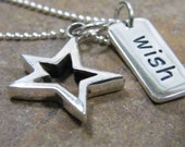 star and wish word tag sterling silver necklace