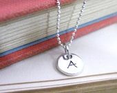 initial charm necklace mini dot disk tag personalized letter sterling silver