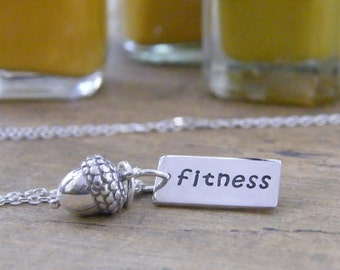 fitness nut acorn charm with and stamped sterling silver tag necklace