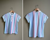 60s baby blue striped shirt top / size small s