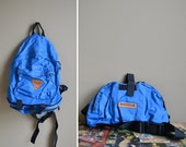 80s blue hiking backpack day pack / fanny pack