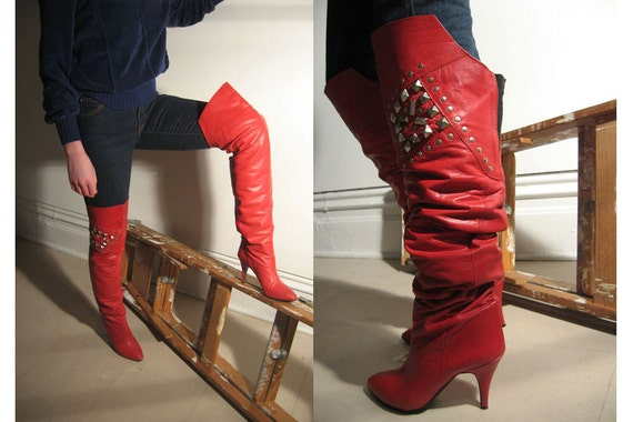 80s sexy red leather studded knee high boots / size 8