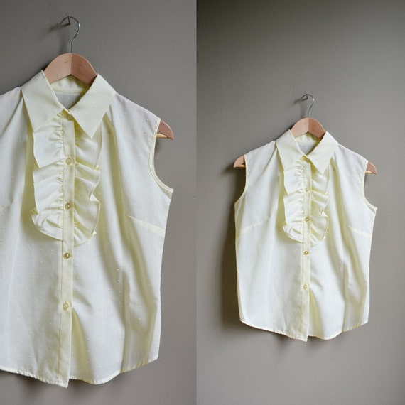 60s pale yellow tuxedo ruffle blouse / size large l