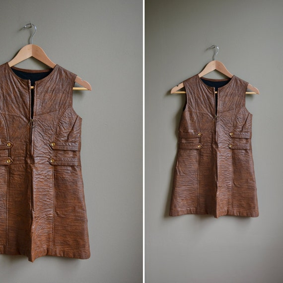 70s brown faux leather mini tunic top / size xxs xs
