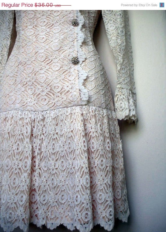 CLEARANCE SALE S A L E / 60s cream lace rhinestone dress
