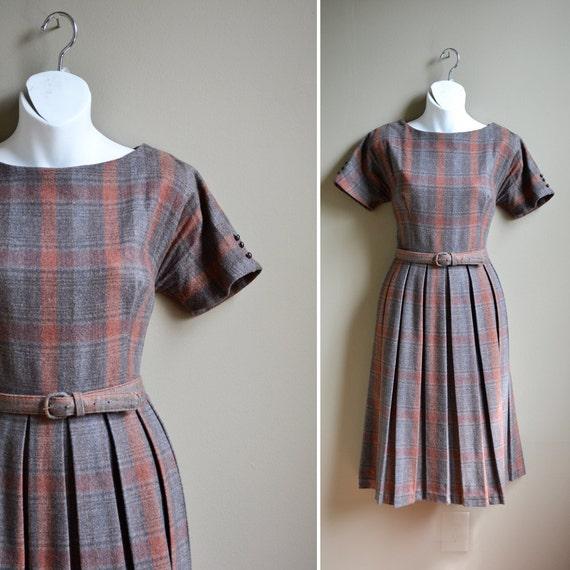 ON RESERVE vintage 50s wool plaid pleated dress / size s m