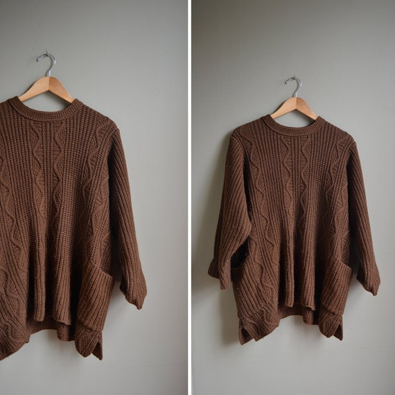 90s brown cable knit draped oversized sweater / size m l