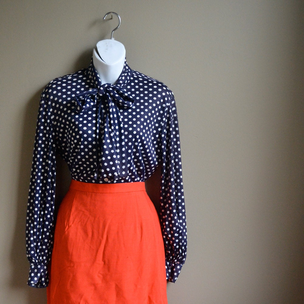 70s Navy Blue Polka Dot Ascot Tie Blouse Top Medium M