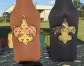 CLEARANCE Brown Neoprene Insulated Bottle Cover,  Bride with Green Fleur De Lis Applique