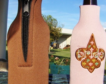 CLEARANCE Pink Neoprene Insulated Bottle cover Bride with Fleur De Lis Fabric Applique