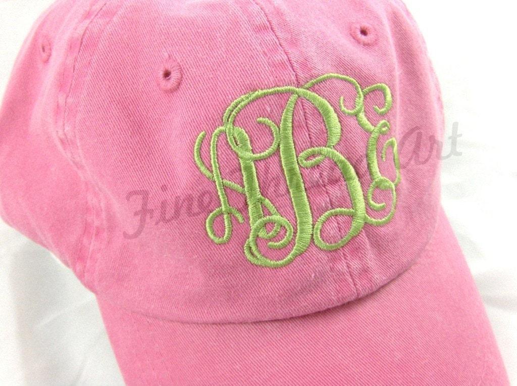 Kids Monogram Baseball Cap Hat For Girls Boys Youth Size Name