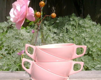 "Melmac Coffee Cups - MID CENTURY -- ""1950's Pink""  -- Set of 5"