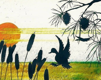 "ArtPrint ""Cali Dreaming"" CoastalCaliforniaPrint,SeasidePrint,Ducks&CattailsPrint,CentralCoastArtPrint,ByTheSeaArt,100% CUSTOMIZABLE: 12""x24"""