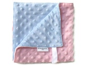 Baby Girl Blanket Security Blanket in Double Minky in Pink and Pale Lavender