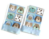 Baby Boy Burp Cloth Flannel Set of two with Puppies