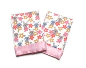 Baby Girl Burp Cloths with Pink Flannel Bunny Rabbits