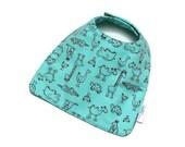 Baby Boy Bib Baby Girl Bib in Aqua Flannel Animals