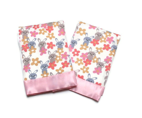 Baby Girl Burp Cloths with Pink Flannel Bunny by BrieAndVessie