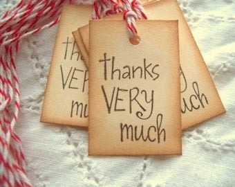 Small THANK YOU Tags - Vintage Inspired Hand Aged with Red White Baker's Twine 8