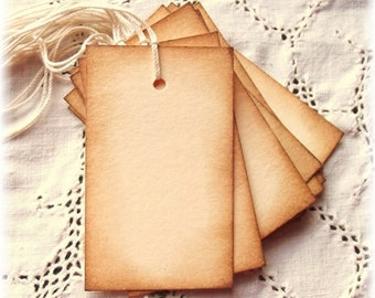 15 Blank Tags - Aged and Vintage Inspired, Label, Gift Wrap, Packaging