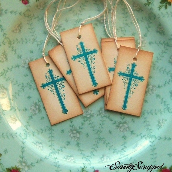 Vintage Inspired Cross in Teal with Hand Aging, Christening, Baptism, Religious, Wedding, Blue, Boy, Vintage Look, Labels, Favor Packaging