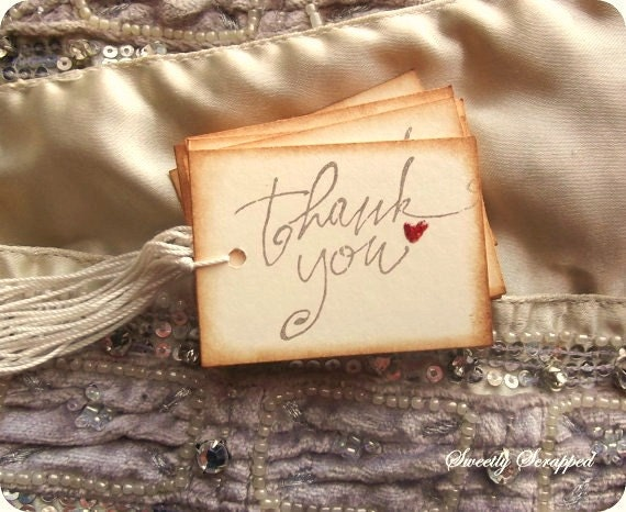10 THANK YOU Tags with Red Hearts that are GLOSSY