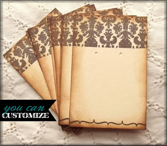 Damask Jewelry Cards - Earrings, Brown, Cream, Shabby, Vintage Inspired, Can be personalized