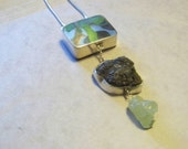 Prehnite, found object, and silver necklace