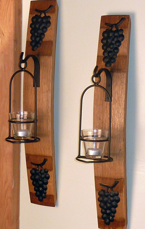 Items similar to Wine Barrel Stave Wall Sconce with Basket and Grapes on Etsy