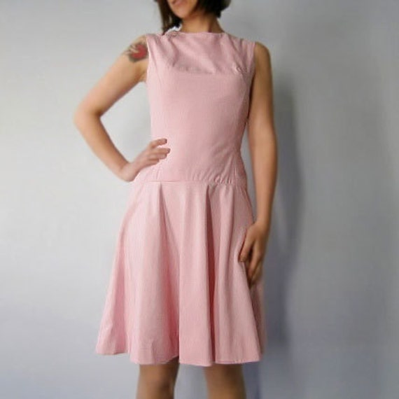 1960s Vintage Drop Waist Party Dress in Soft Pink and Fully Lined - Small