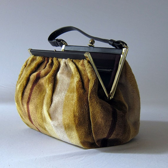1960s Vintage Striped Carpet Bag in Shades of Gold and Brown by Cara - Unstructured Dr. Bag