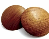 Wooden clip on earrings, round