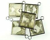 Resin jewelry links, square grey translucent 5pcs 18mm