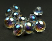 Glass buttons, crystal AB tiny 10pcs