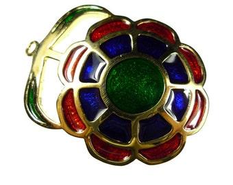 Enamel flower pendants