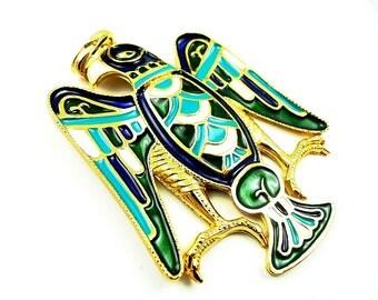 Eagle pendant enameled egyptian reviaval