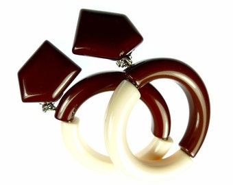 Clip on earrings, plastic brown and creme
