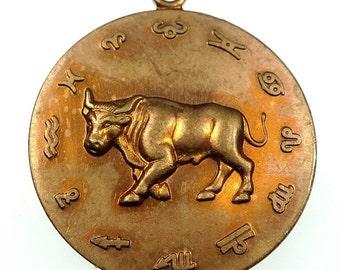 TAURUS zodiac sign pendant raw brass