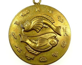PISCES zodiac sign pendant raw brass