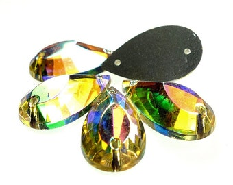 Glass sew ons pear shaped drop crystal AB color 10pcs