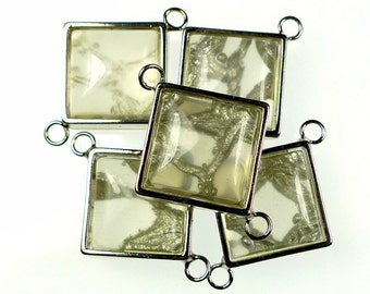Resin jewelry links, square grey translucent 5pcs 18mm