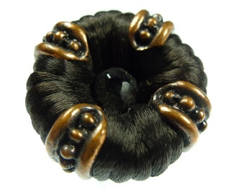 Brown thread and a bead button 1pc