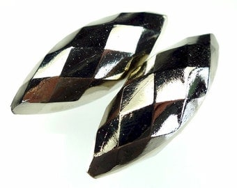 Vintage metal beads, faceted silver tone 2pcs